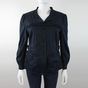 Marc by Marc Jacobs Blue Ruffle Blazer Jacket
